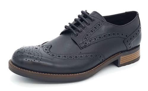 HX London - Wandsworth Leather Brogue Shoes Black